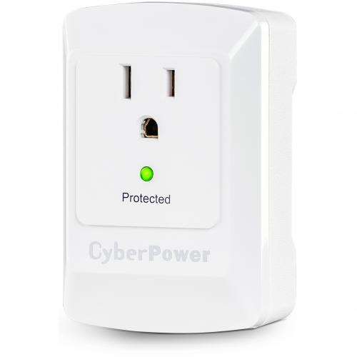 CyberPower CSB100W Essential 1 Outlet Surge Suppressor Wall Tap   Plain Brown Boxes Alternate-Image1/500