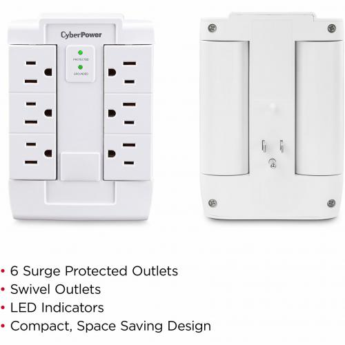 CyberPower CSB600WS Essential 6 Outlets Surge Suppressor Wall Tap And Swivel Outputs   Plain Brown Boxes Alternate-Image1/500