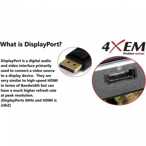 4XEM 6FT DisplayPort To VGA Adapter Cable   Black Alternate-Image1/500