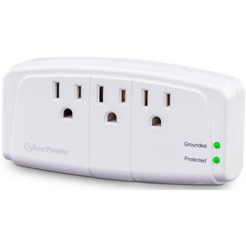 CyberPower CSB300W Essential 3 Outlets Surge Suppressor Wall Tap Plug   Plain Brown Boxes Alternate-Image1/500