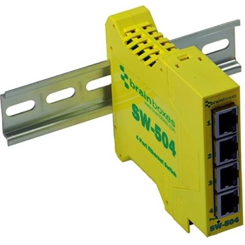 Brainboxes Industrial Ethernet 4 Port Switch DIN Rail Mountable Alternate-Image1/500