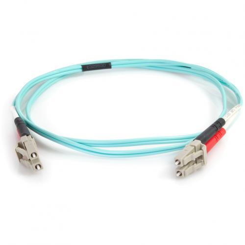 C2G 1m LC LC 50/125 Duplex Multimode OM4 Fiber Cable   Aqua   3ft Alternate-Image1/500