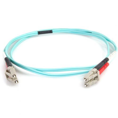 C2G 0.5m LC LC 50/125 Duplex Multimode OM4 Fiber Cable   Aqua   1.6ft Alternate-Image1/500