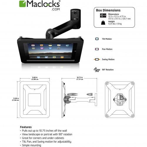 IPad 2/3/4/Air/Air2 Secure Executive Enclosure With Swing Arm Kiosk Black Alternate-Image1/500