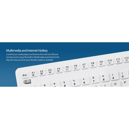 Adesso SlimTouch 270   Antimicrobial Waterproof Touchpad Keyboard (White) Alternate-Image1/500
