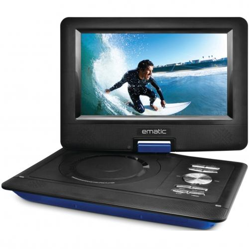 """Ematic EPD116 Portable DVD Player   10"""" Display   1024 X 600   Blue Alternate-Image1/500"""