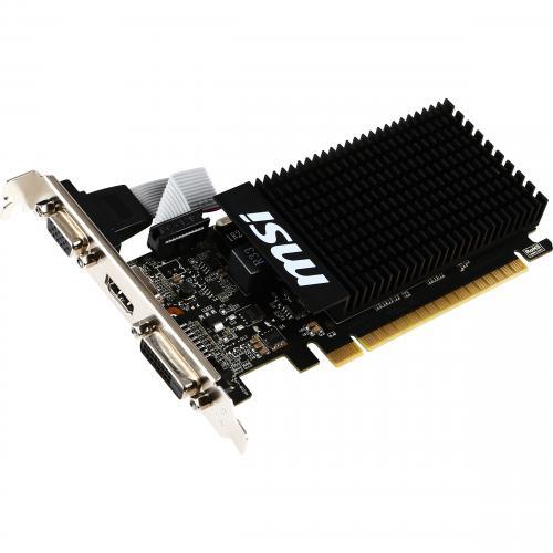 MSI GeForce GT 710 Low Profile Graphics Card   1GB DDR3 64 Bit   Noise Free GPU Heatsink   NVIDIA GeForce GT 710 954 MHz   Extreme Low ESR   DirectX 12 Features Alternate-Image1/500