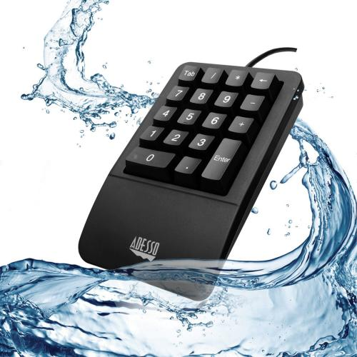 Adesso AKB 618  Antimicrobial Waterproof Numeric Keypad With Wrist Rest Support Alternate-Image1/500