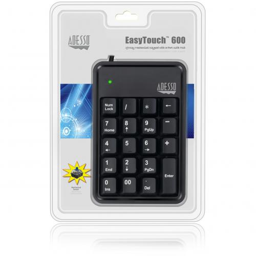 Adesso AKB 600HB   19 Key Mechanical Keypad With 3 Port USB Hub Alternate-Image1/500