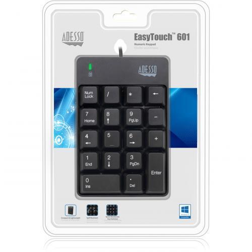 Adesso AKB 601UB   USB Spill Resistant 18 Key Numeric Keypad Alternate-Image1/500