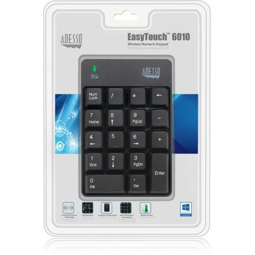 Adesso WKB 6010UB   Wireless Spill Resistant 18 Key Numeric Keypad Alternate-Image1/500