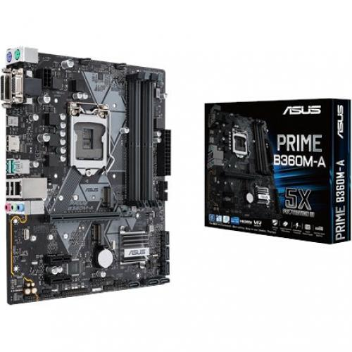 Asus Prime B360M A Desktop Motherboard   Intel Chipset   Socket H4 LGA 1151 Alternate-Image1/500