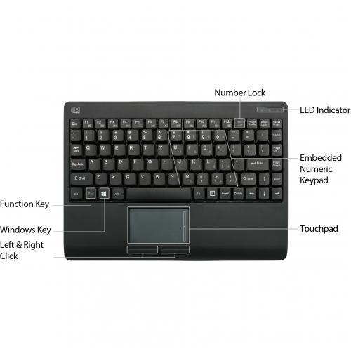 Adesso Wireless Mini Touchpad Keyboard Alternate-Image1/500