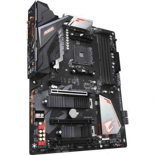 Aorus Ultra Durable B450 AORUS PRO WIFI Desktop Motherboard   AMD Chipset   Socket AM4   ATX Alternate-Image1/500