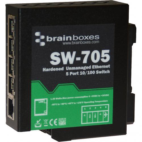 Brainboxes Industrial Hardened Ethernet 5 Port Switch DIN Rail Mountable Alternate-Image1/500