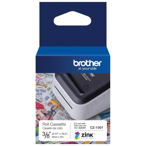 "Brother Genuine CZ 1001 3/8"" (0.37"") 9mm Wide X 16.4 Ft. (5 M) Long Label Roll Featuring ZINK® Zero Ink Technology Alternate-Image1/500"