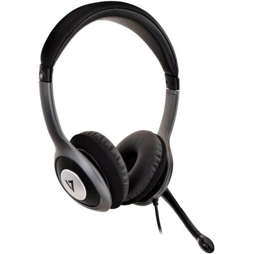 V7 Deluxe USB Stereo Headphones With Microphone Alternate-Image1/500
