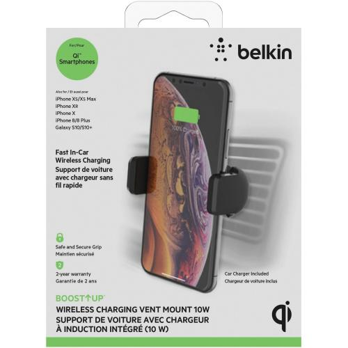 Belkin Wireless Charging Vent Mount 10W   Wireless Car Charger Alternate-Image1/500