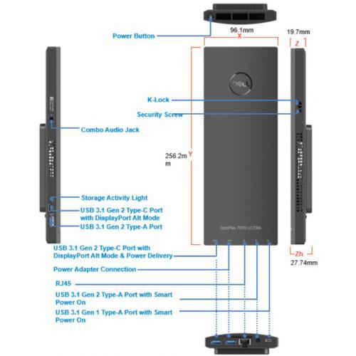 Dell OptiPlex 7000 7070 Desktop Computer   Intel Core I5 8th Gen I5 8365U 1.60 GHz   8 GB RAM DDR4 SDRAM   256 GB SSD   Ultra Small Alternate-Image1/500