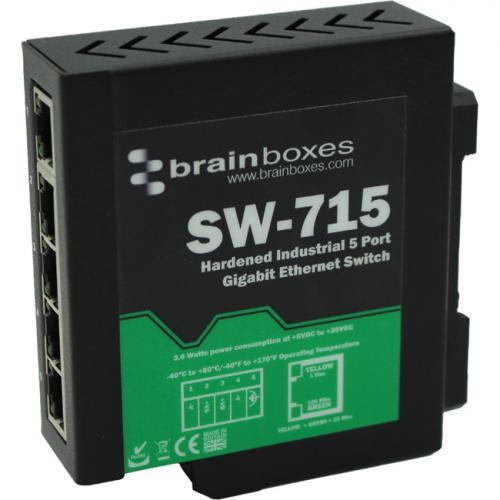 Brainboxes Hardened Industrial 5 Port Gigabit Ethernet Switch DIN Rail Mountable Alternate-Image1/500