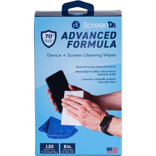 Digital Innovations Screen Dr Advanced Formula (70% Alcohol)Wet Wipes W/ Micofiber Cloth 120 Ct Alternate-Image1/500