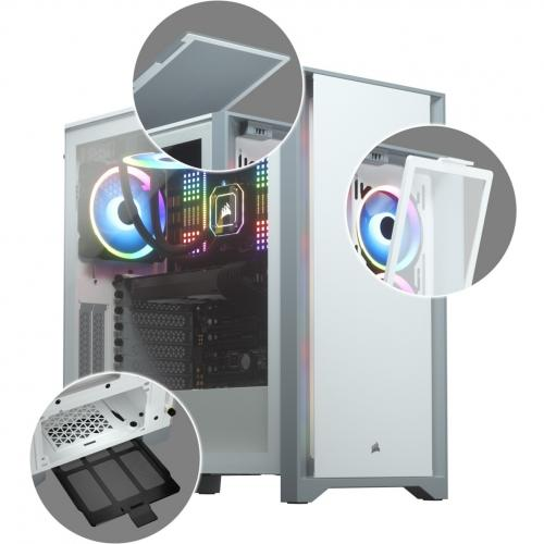 Corsair 4000D Tempered Glass Mid Tower ATX Case   White Alternate-Image1/500