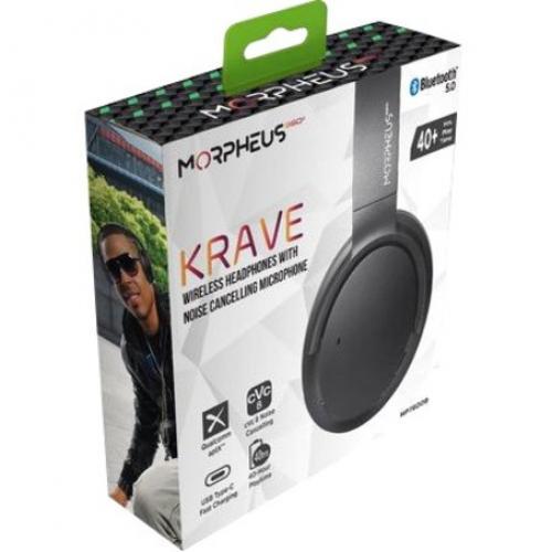 Morpheus 360® KRAVE Wireless Over Ear Headphones, AptX® Immersive Sound, CVC 8.0 Noise Cancelling Microphone, 40 Hour Play Time, Travel Case, Black HP7800B Alternate-Image1/500