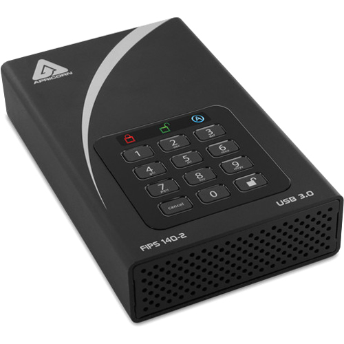 "Apricorn Aegis Padlock DT FIPS ADT 3PL256F 4000 4 TB Desktop Hard Drive   3.5"" External   Black Alternate-Image2/500"