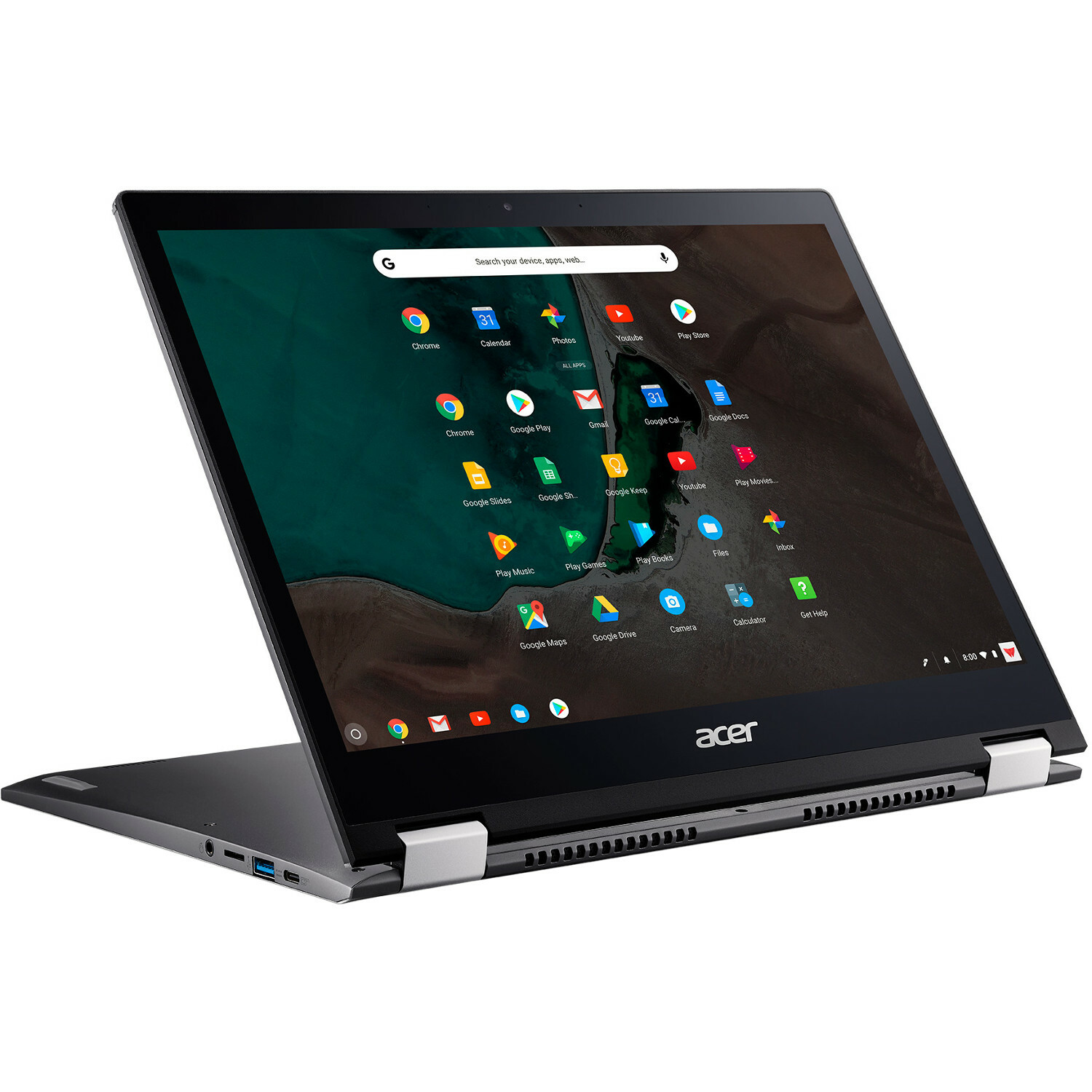 "Acer Chromebook Spin 13 CP713 1WN CP713 1WN 385L 13.5"" Touchscreen 2 In 1 Chromebook   2256 X 1504   Intel Core I3 (8th Gen) I3 8130U Dual Core (2 Core) 2.20 GHz   8 GB RAM   64 GB Flash Memory   Gray Alternate-Image2"