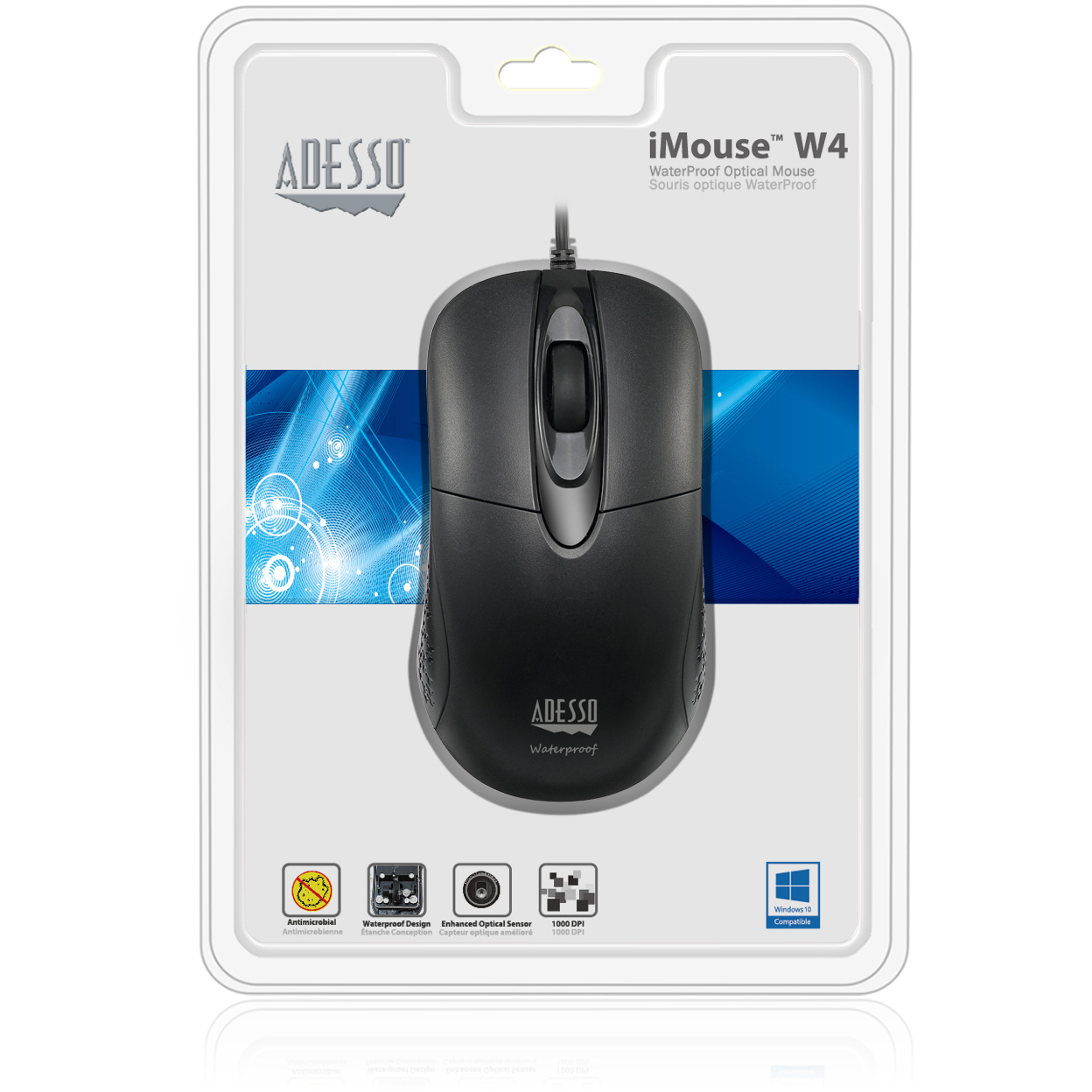 Adesso IMouse W4   Waterproof Antimicrobial Optical Mouse Alternate-Image2