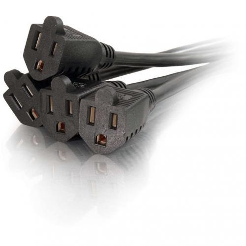 C2G 18in 1 To 4 Power Cord Splitter   16 AWG   NEMA 5 15 To NEMA 5 15R Alternate-Image2/500