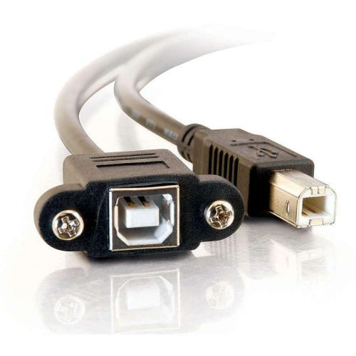 C2G 1ft Panel Mount USB 2.0 B Female To B Male Cable Alternate-Image2/500