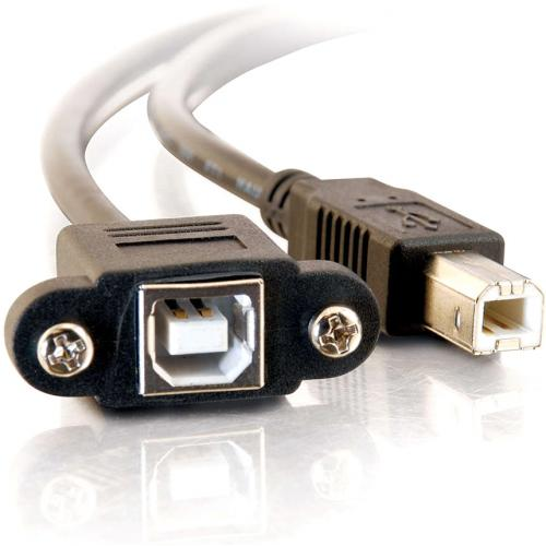C2G 3ft Panel Mount USB 2.0 B Female To B Male Cable Alternate-Image2/500