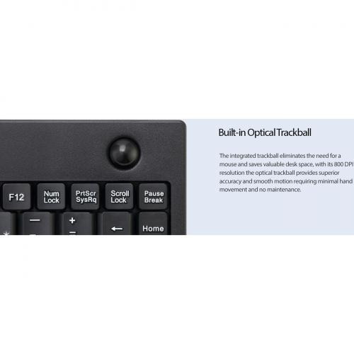 Adesso AKB 310UB Mini Trackball Keyboard Alternate-Image2/500