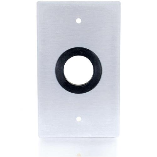 C2G 1in Grommet Cable Pass Through Single Gang Wall Plate   Brushed Aluminum Alternate-Image2/500