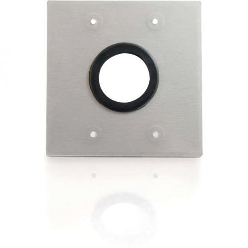 C2G 1.5in Grommet Cable Pass Through Double Gang Wall Plate   Brushed Aluminum Alternate-Image2/500