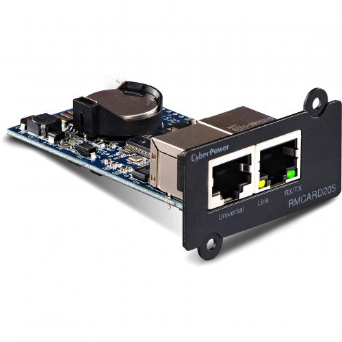 CyberPower UPS Systems RMCARD205 Hardware    Supported Protocols: TCP/IP, UDP, FTP, SCP, DHCP, DNS, SSH, Telnet, HTTP/HTTPS, SNMPv1/v3, IPv4/v6, NTP, SMTP, And Syslog Alternate-Image2/500