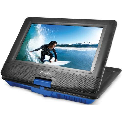 """Ematic EPD116 Portable DVD Player   10"""" Display   1024 X 600   Blue Alternate-Image2/500"""