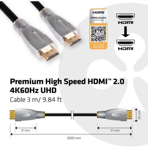 Club 3D Premium High Speed HDMI 2.0 4K60Hz UHD Cable 3 Meter Alternate-Image2/500