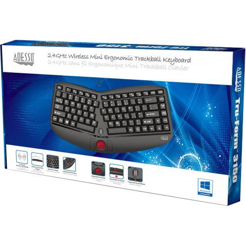 Adesso Tru Form Media 3150   2.4 GHz Wireless Ergo Trackball Keyboard Alternate-Image2/500