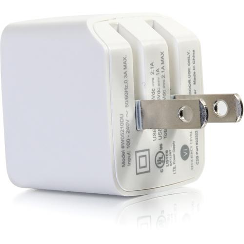 C2G 2 Port USB Wall Charger   AC To USB Adapter   5V 2.1A Output Alternate-Image2/500