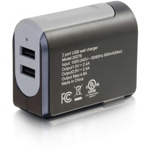 C2G 2 Port USB Wall Charger   AC Power Adapter Alternate-Image2/500