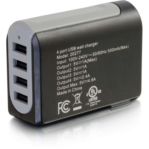 C2G 4 Port USB Wall Charger   AC To USB Adapter, 5V 4.8A Output Alternate-Image2/500