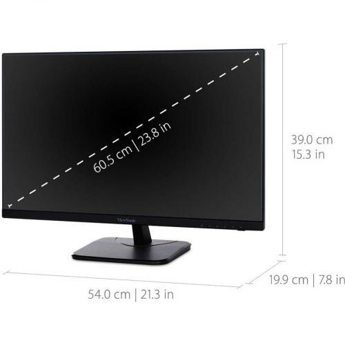 "Viewsonic VA2456 MHD 23.8"" Full HD LED LCD Monitor   16:9   Black Alternate-Image2/500"