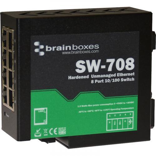 Brainboxes Hardened Industrial Ethernet 8 Port Switch DIN Rail Mountable Alternate-Image2/500
