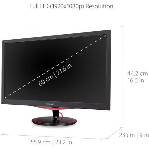 "Viewsonic VX2458 Mhd 23.6"" Full HD LED Gaming LCD Monitor   16:9   Black Red Alternate-Image2/500"