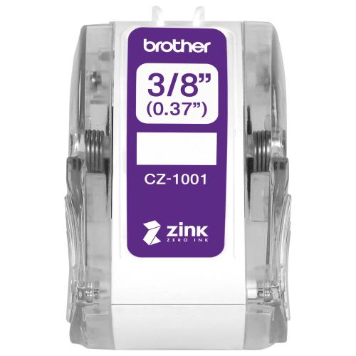 "Brother Genuine CZ 1001 3/8"" (0.37"") 9mm Wide X 16.4 Ft. (5 M) Long Label Roll Featuring ZINK® Zero Ink Technology Alternate-Image2/500"