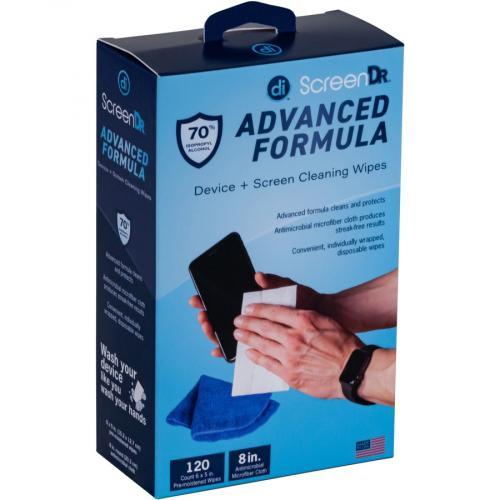 Digital Innovations Screen Dr Advanced Formula (70% Alcohol)Wet Wipes W/ Micofiber Cloth 120 Ct Alternate-Image2/500