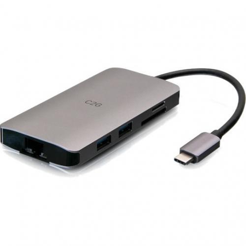 C2G USB C Dock With HDMI, USB, Ethernet, SD, USB C & Power Up To 100W Alternate-Image2/500