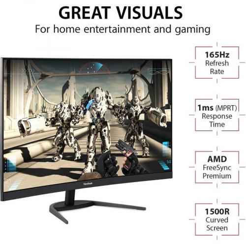 """Viewsonic VX3268 PC MHD 31.5"""" Full HD Curved Screen LED Gaming LCD Monitor   16:9 Alternate-Image2/500"""